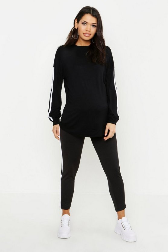 Black Maternity Contrast Stripe Crew Sweat