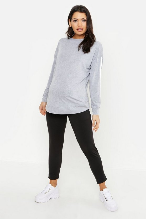 Grey Maternity Contrast Stripe Crew Sweat