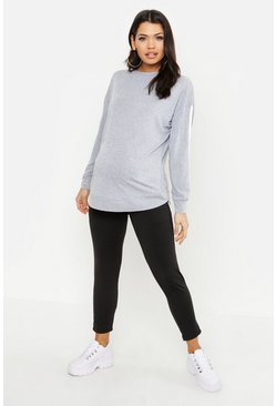 Maternity Contrast Stripe Crew Sweat, Grey, Donna