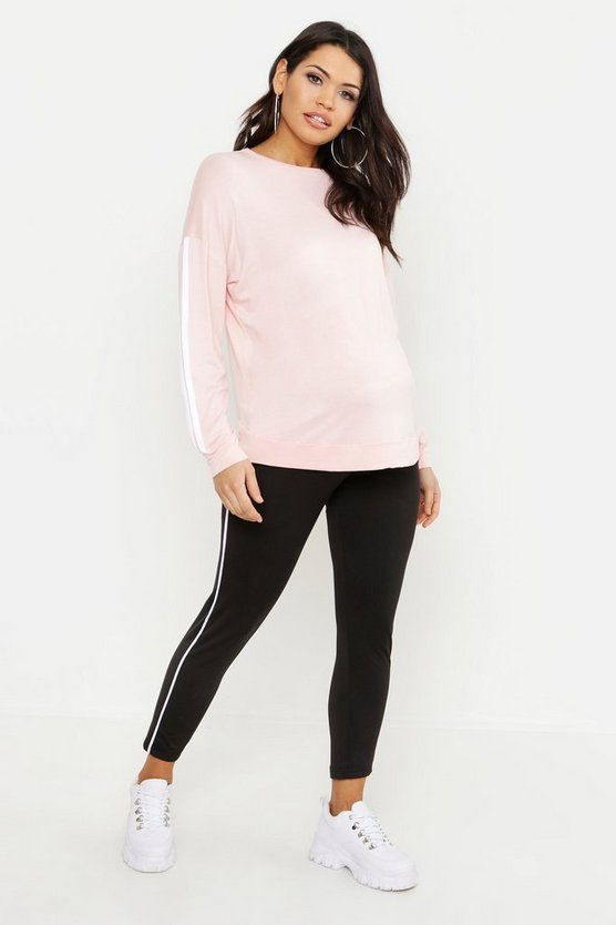 Womens Peach Maternity Contrast Stripe Crew Sweat