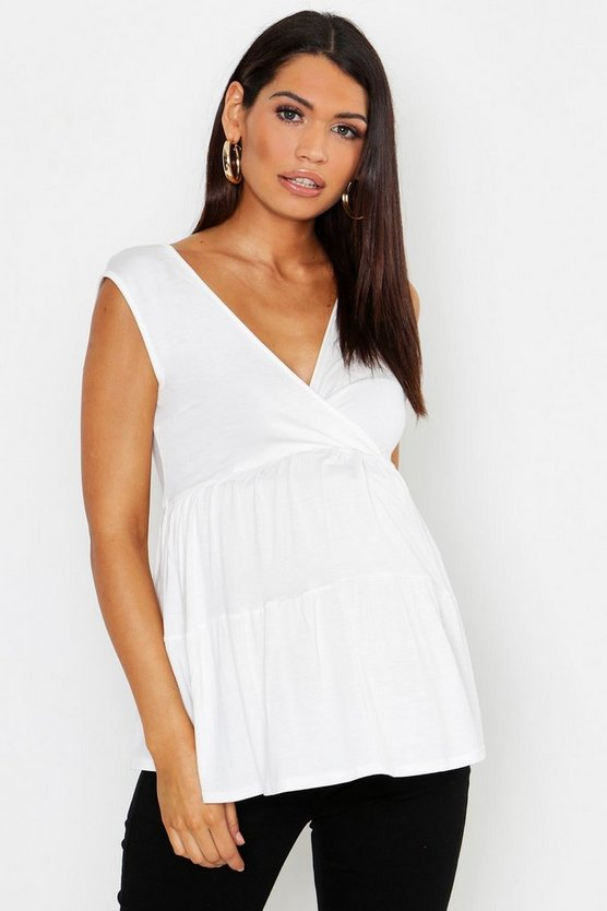 Womens White Maternity Tiered Smock Vest