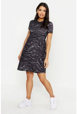 Womens Black Maternity Scribble Print Smock Dress