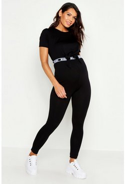 Womens Black Maternity 'MAMA' Band Leggings