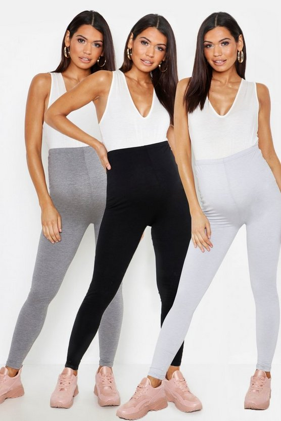 Womens Multi Maternity 3 Pack Over The Bump Legging
