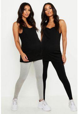 Womens Multi Maternity 2 Pack Over The Bump Leggings