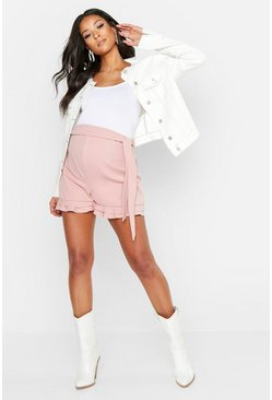 Rose Maternity Frill Hem Over The Bump Short