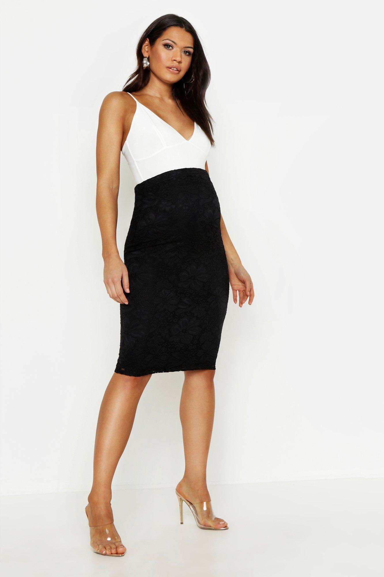 Maternity Lace Midi Skirt