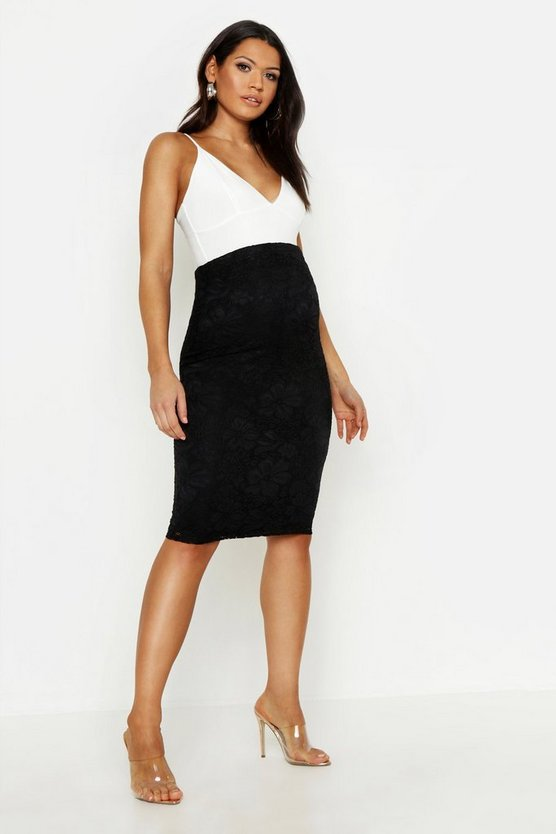 Womens Black Maternity Lace Midi Skirt