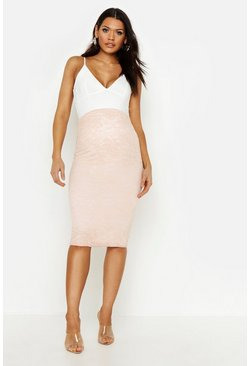 Nude Maternity Lace Midi Skirt
