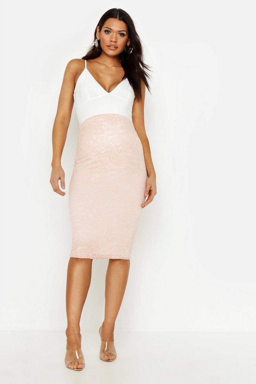 6f90988055cb7 Womens Nude Maternity Lace Midi Skirt