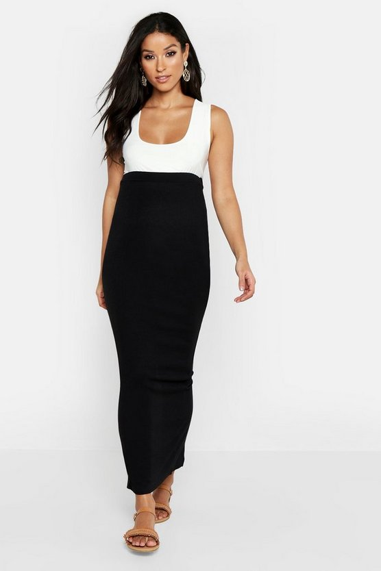 Womens Black Maternity Maxi Rib Skirt