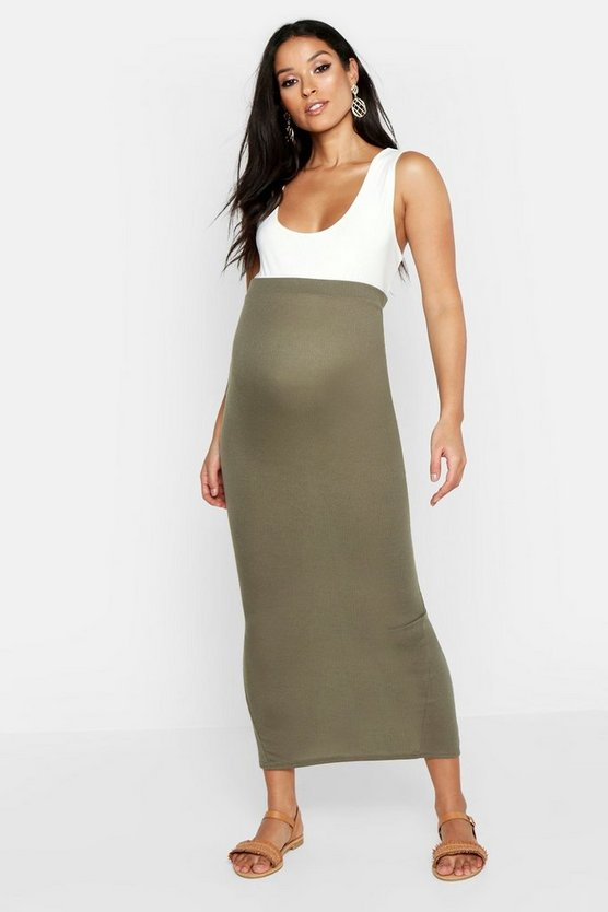 Womens Khaki Maternity Maxi Rib Skirt