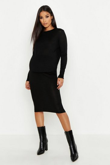 Womens Black Maternity Midi Skirt Coord