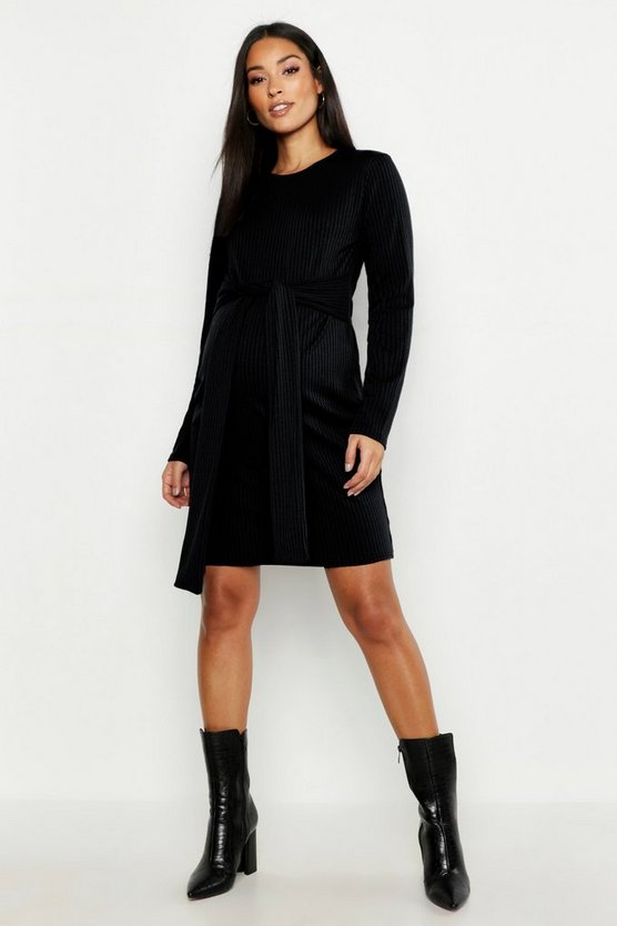 Maternity Tie Waist Knitted Rib Dress