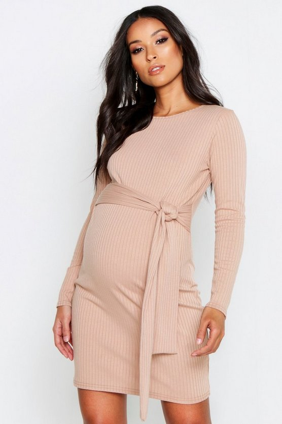 Womens Stone Maternity Tie Waist Knitted Rib Dress