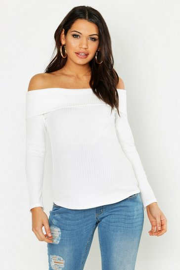 Womens Cream Maternity Off The Shoulder Rib Jumper