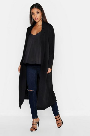 Womens Black Maternity Longline Button Detail Duster