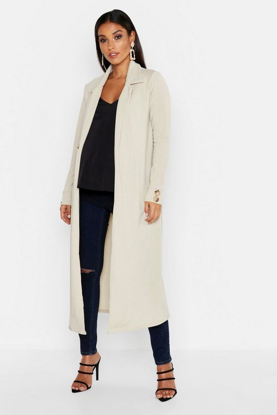 Womens Stone Maternity Longline Button Detail Duster