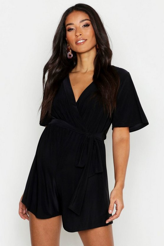 Womens Black Maternity Slinky Tie Waist Wrap Playsuit