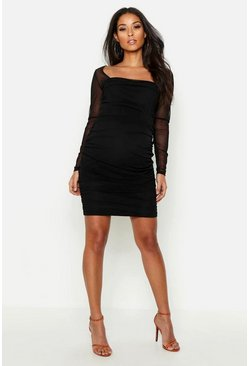 Womens Black Maternity Square Neck Mesh Bodycon Dress
