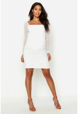 Womens Ivory Maternity Square Neck Mesh Bodycon Dress