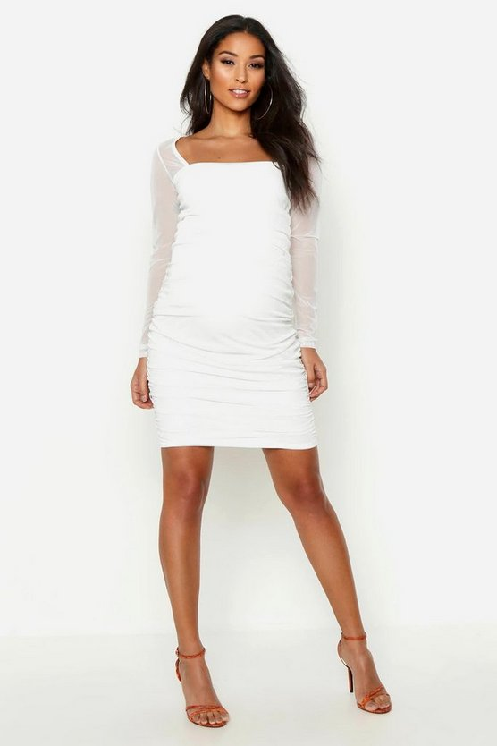 Maternity Square Neck Mesh Bodycon Dress