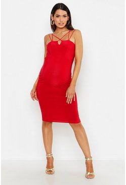 Womens Red Maternity Strap Detail Bodycon Dress