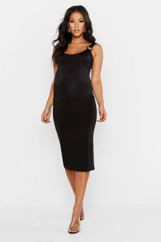 Womens Black Maternity Ring Detail Slinky Midi Dress
