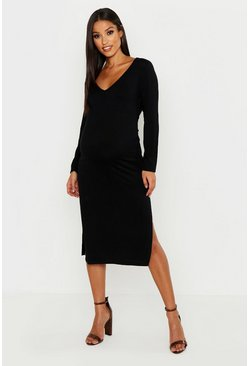 Womens Black Maternity Plunge Side Split Midi Dress