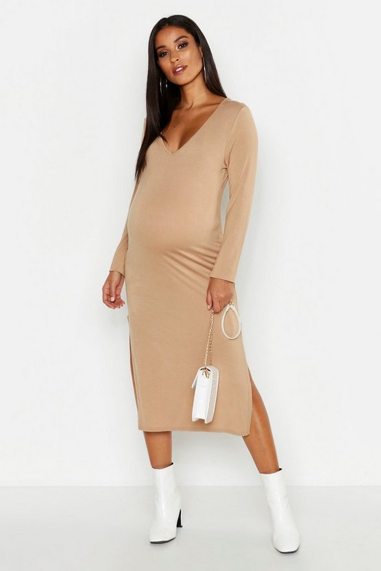 Womens Camel Maternity Plunge Side Split Midi Dress