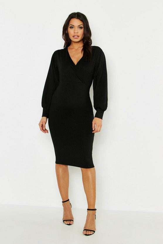 Womens Maternity Wrap Over Balloon Sleeve Midi Dress