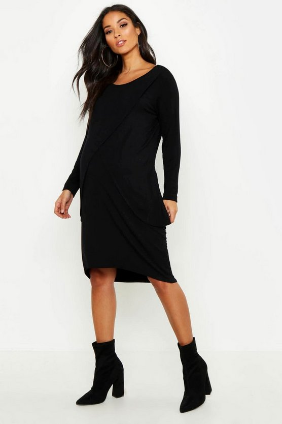 Womens Black Maternity Long Sleeved Nursing Midi Dress