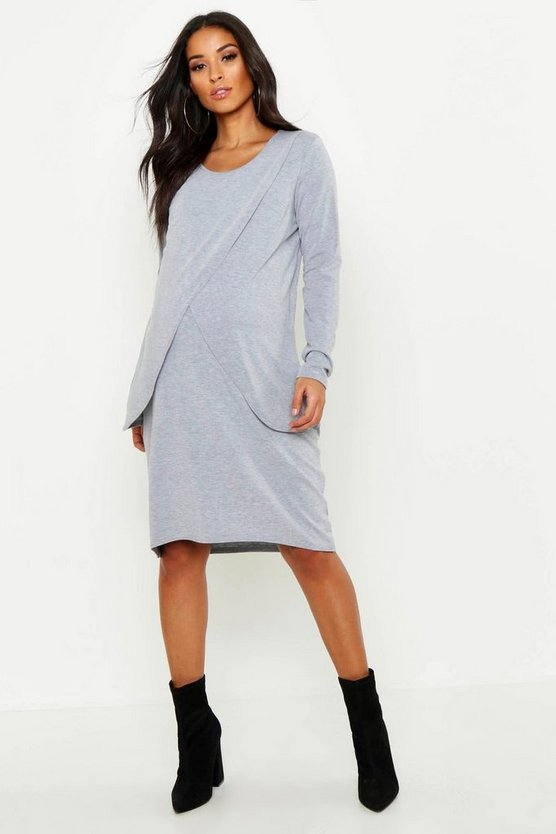 Womens Grey Maternity Long Sleeved Nursing Midi Dress