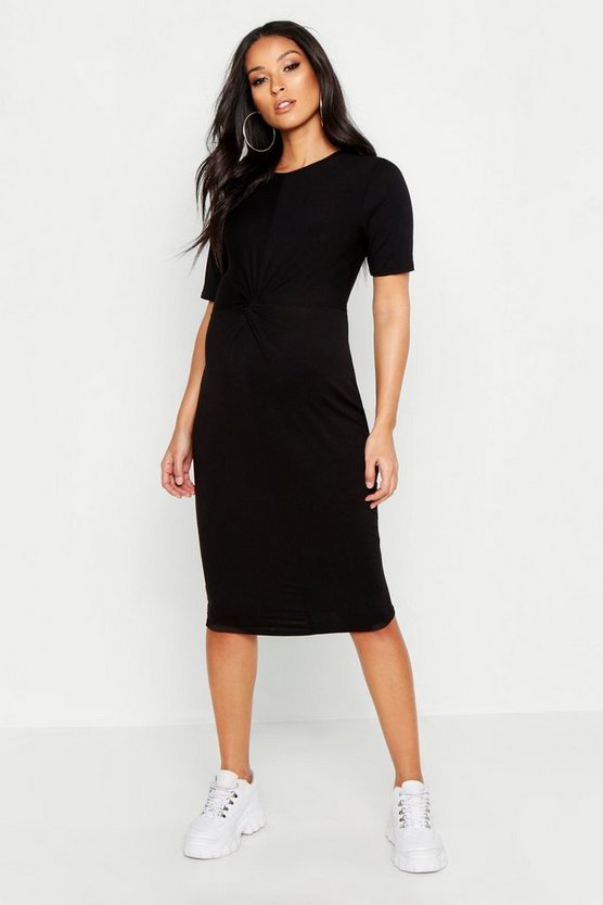 Womens Black Maternity Knot Front TShirt Midi Dress