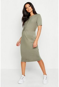 Khaki Maternity Knot Front TShirt Midi Dress