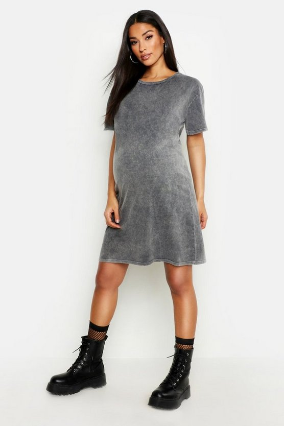 Umstandsmode T-Shirt-Kleid im Acid-Wash-Look