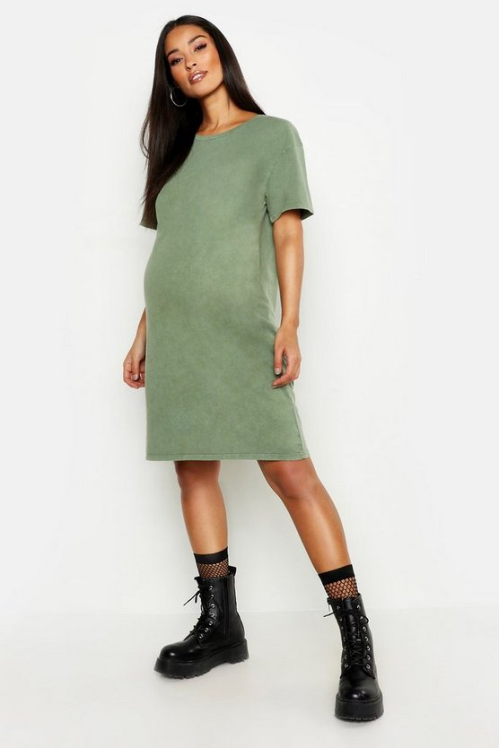 Maternity Acid Wash T-Shirt Dress