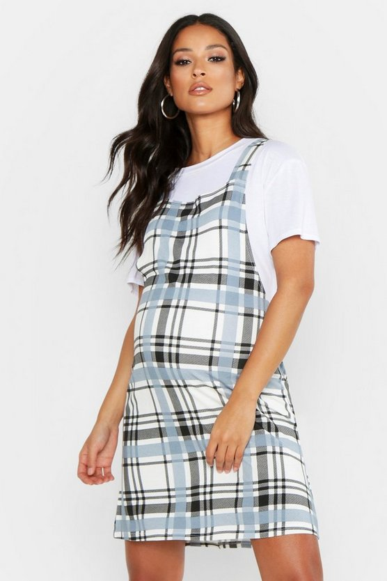 Maternity Oversized Check Pinafore Dress