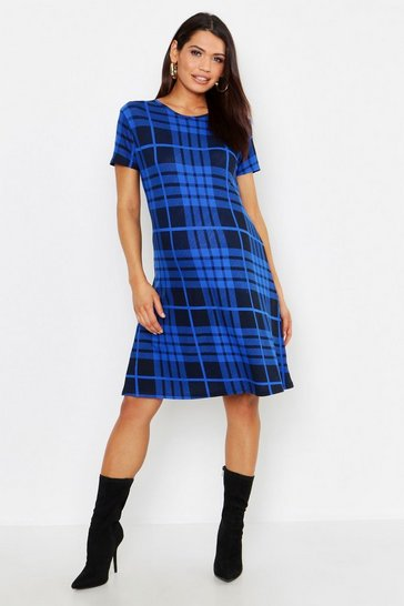 Womens Blue Maternity Oversized Check Swing Dress