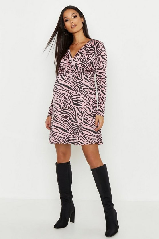 Womens Pink Maternity Tiger Wrap Front Dress