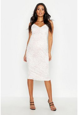 Womens Nude Maternity Lace Midi Dress