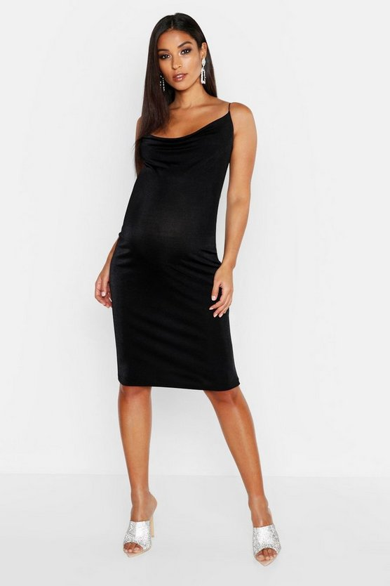 Womens Black Maternity Cowl Neck Slinky Midi Dress