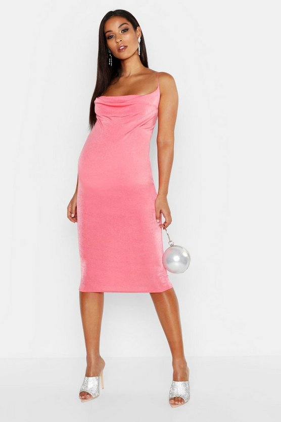 Womens Coral Maternity Cowl Neck Slinky Midi Dress