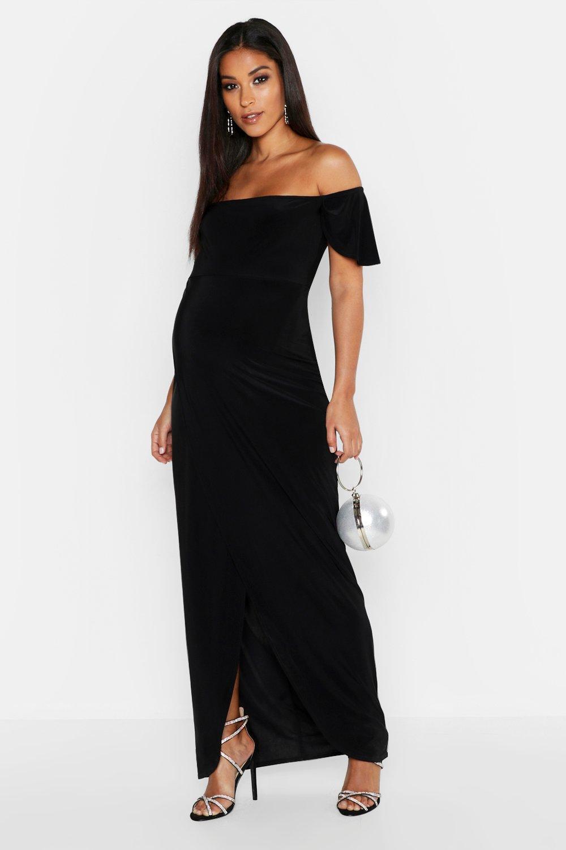 Maternity Drape Sleeve Wrap Slinky Maxi Dress
