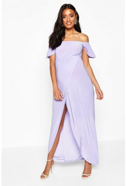 Lilac Maternity Drape Sleeve Wrap Slinky Maxi Dress