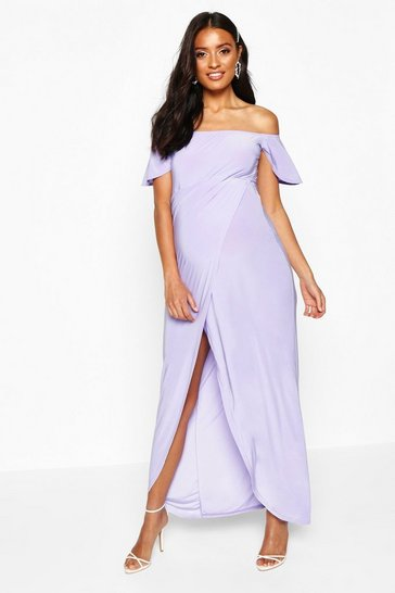 Womens Lilac Maternity Drape Sleeve Wrap Slinky Maxi Dress