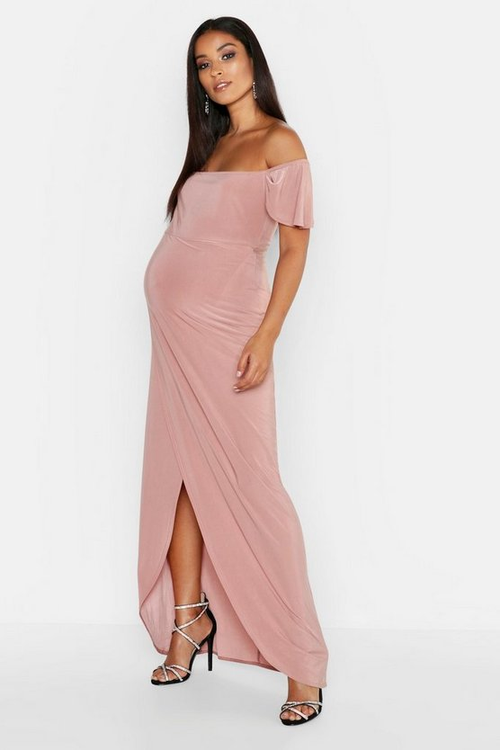 Womens Rose Maternity Drape Sleeve Wrap Slinky Maxi Dress