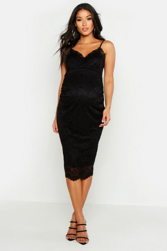 Maternity Strappy Lace Midi Dress
