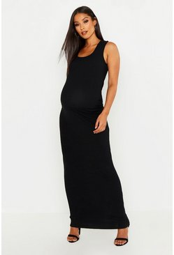 Black Maternity Scoop Rib Maxi Dress