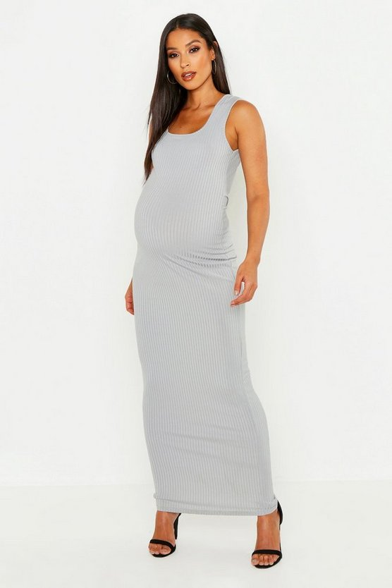 Womens Light grey Maternity Scoop Rib Maxi Dress